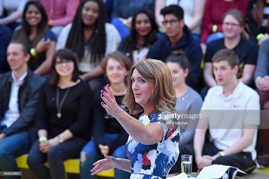 Presenter Victoria Derbyshire hosts 'How Should I Vote? - The EU Debate' at The Briggait on May 26, 2016 in Glasgow. The BBC's first televised EU referendum debate was held in Glasgow in front of an audience of eighteen to twenty nine year olds and a panel of SNP's Alex Salmond and Labour's Alan Johnson backing staying in the EU while UKIP MEP Diane James and Conservative Liam Fox arguing to leave.