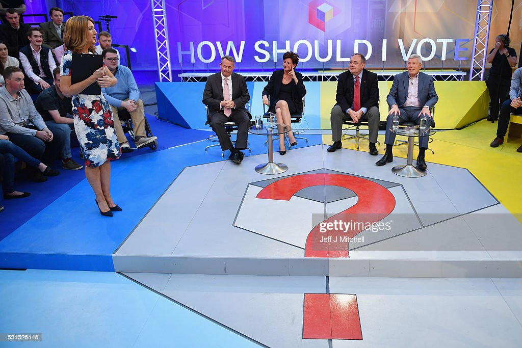 Presenter Victoria Derbyshire hosts 'How Should I Vote? - The EU Debate', with members of the panel Liam Fox, Diane James, Alex Salmond and Alan Johnson at The Briggait on May 26, 2016 in Glasgow, Scotland. The BBC's first televised EU referendum debate was held in Glasgow in front of an audience of eighteen to twenty-nine year olds and a panel of the SNP's Alex Salmond and Labour's Alan Johnson backing staying in the EU while UKIP MEP Diane James and Conservative Liam Fox arguing to leave.