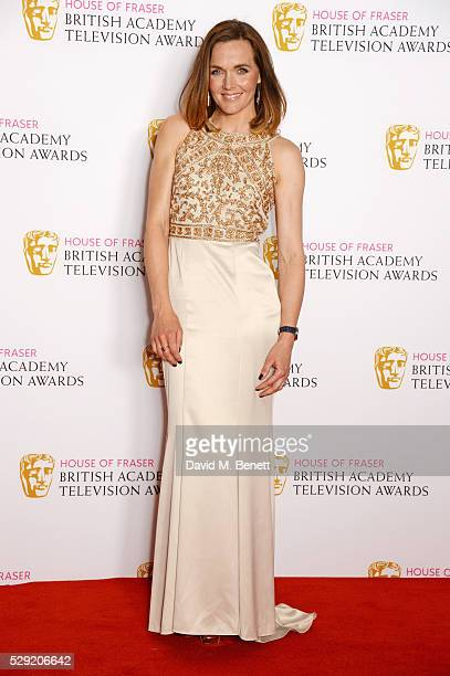 Presenter Victoria Pendleton poses in the winners room at the House Of Fraser British Academy Television Awards 2016 at the Royal Festival Hall on...