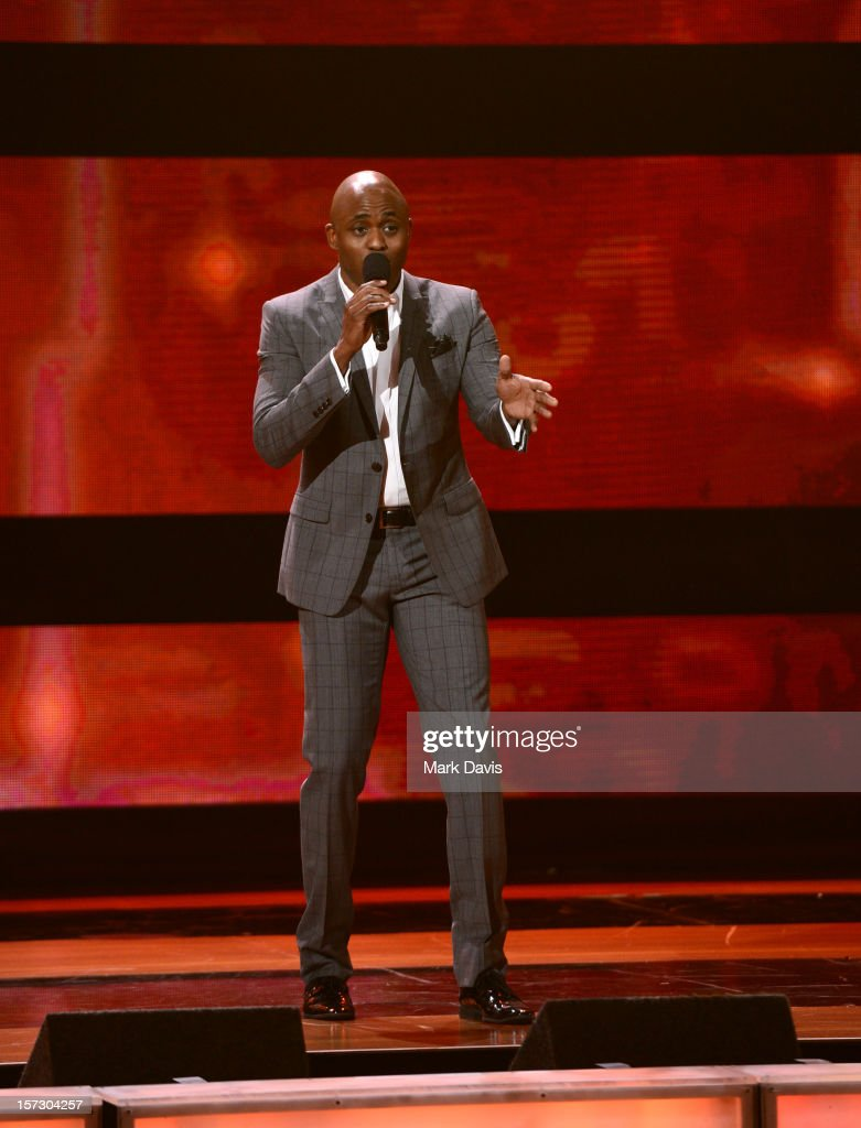 Presenter <a gi-track='captionPersonalityLinkClicked' href=/galleries/search?phrase=Wayne+Brady+-+Actor&family=editorial&specificpeople=217495 ng-click='$event.stopPropagation()'>Wayne Brady</a> speaks onstage during UNCF's 33rd Annual An Evening Of Stars held at Pasadena Civic Auditorium on December 1, 2012 in Pasadena, California.