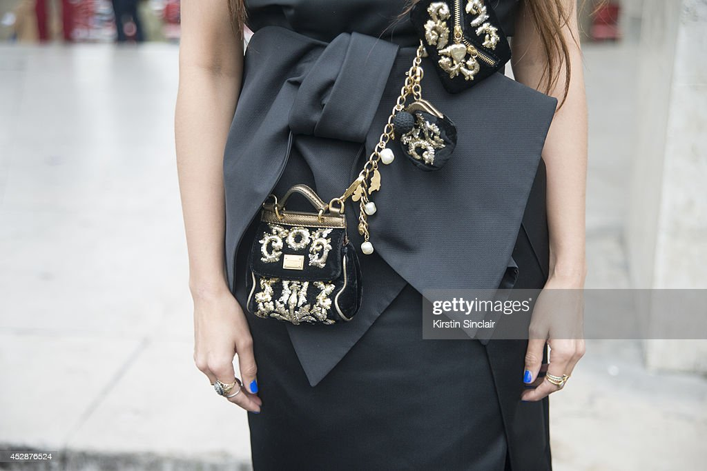 TV Presenter <a gi-track='captionPersonalityLinkClicked' href=/galleries/search?phrase=Zara+Martin&family=editorial&specificpeople=6550505 ng-click='$event.stopPropagation()'>Zara Martin</a> wearing a Dolce and Gabbana bag and Dice Kayak dress day 5 of Paris Haute Couture Fashion Week Autumn/Winter 2014, on July 10, 2014 in Paris, France.