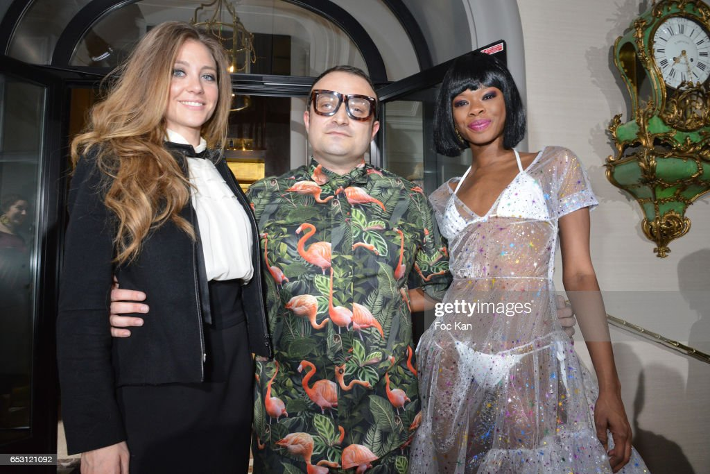 TV presenter/comedian Cyrielle Joelle, designer William Arlotti and a model attends William Arlotti Show at Hotel Lancaster Hosted by Domaine de La Croix wines on March 13, 2017 in Paris, France.