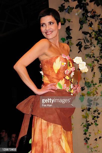 TV presenter/former super model Cristina Cordula dressed by Jasmin Santanen attend the Salon Du Chocolat 2010 Opening Night at the Parc des...