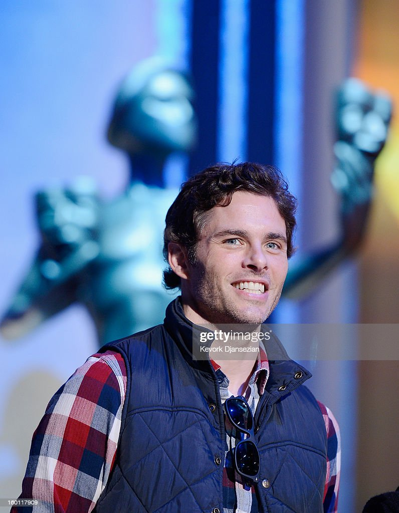 Presenters actor<a gi-track='captionPersonalityLinkClicked' href=/galleries/search?phrase=James+Marsden&family=editorial&specificpeople=206902 ng-click='$event.stopPropagation()'>James Marsden</a> and Barbara Richman, a stand in for actress Rose Byrne, during rehearsals at the 19th Annual Screen Actors Guild Awards red carpet roll out and presenter rehearsals at The Shrine Auditorium on January 26, 2013 in Los Angeles, California.