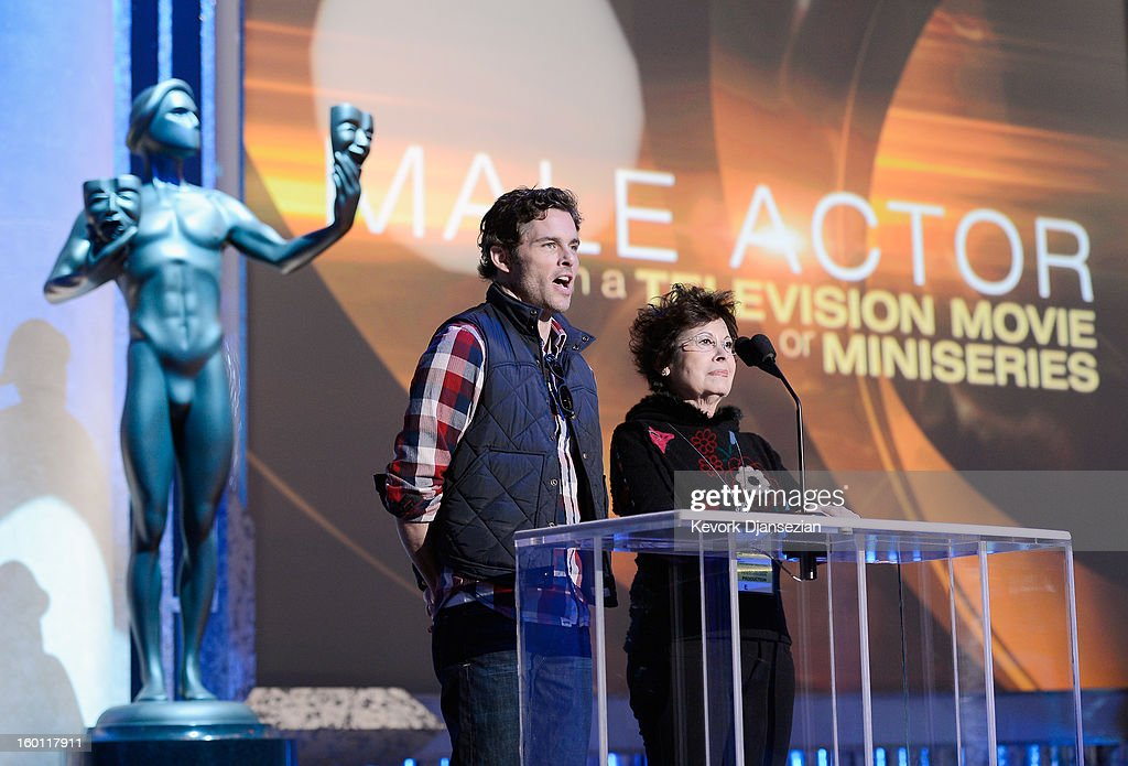 Presenters actorJames Marsden and Barbara Richman, a stand in for actress Rose Byrne, during rehearsals at the 19th Annual Screen Actors Guild Awards red carpet roll out and presenter rehearsals at The Shrine Auditorium on January 26, 2013 in Los Angeles, California.