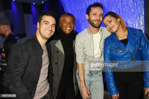 TV presenters Alex Goude Shana Delacroix Jeremie Parayre and Karima Charni attend 'Identik' by M Pokora Launch Party at Duplex Club on September 17...