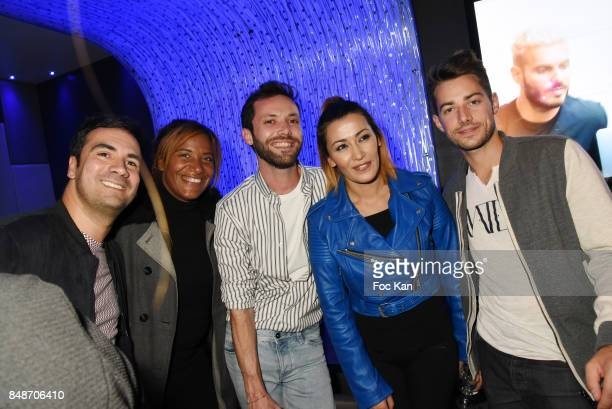 TV presenters Alex Goude Shana Delacroix Jeremie Parayre Karima Charni and comedian Jeremy Charvet attend 'Identik' by M Pokora Launch Party at...