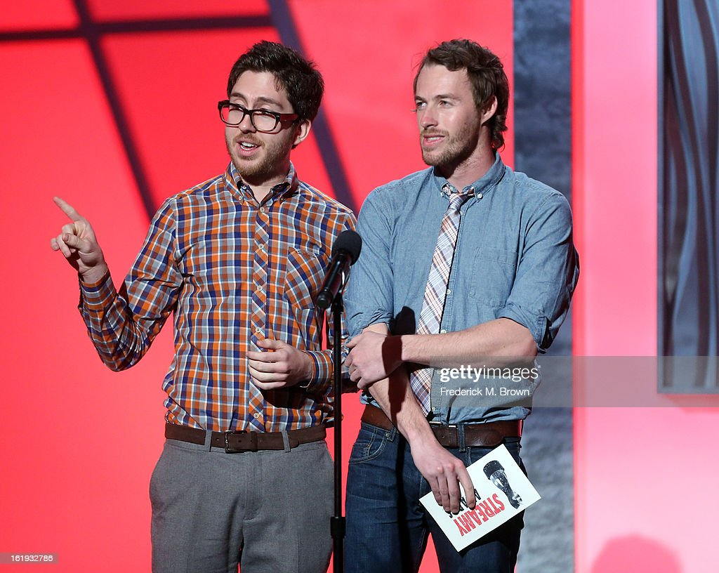 Presenters Amir Blumenfeld (L) and Jake Hurwitz speak onstage at the 3rd Annual Streamy Awards at Hollywood Palladium on February 17, 2013 in Hollywood, California.
