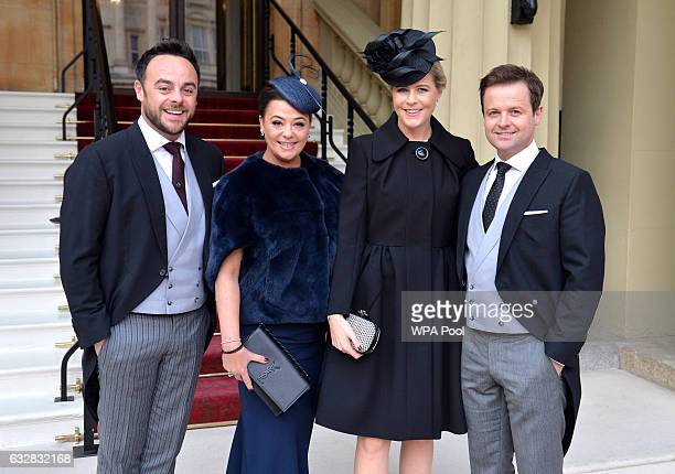TV presenters Ant and Dec and their wives Lisa Armstrong and Ali Astall arrive at Buckingham Palace where the pair will be awarded OBEs by the Prince...