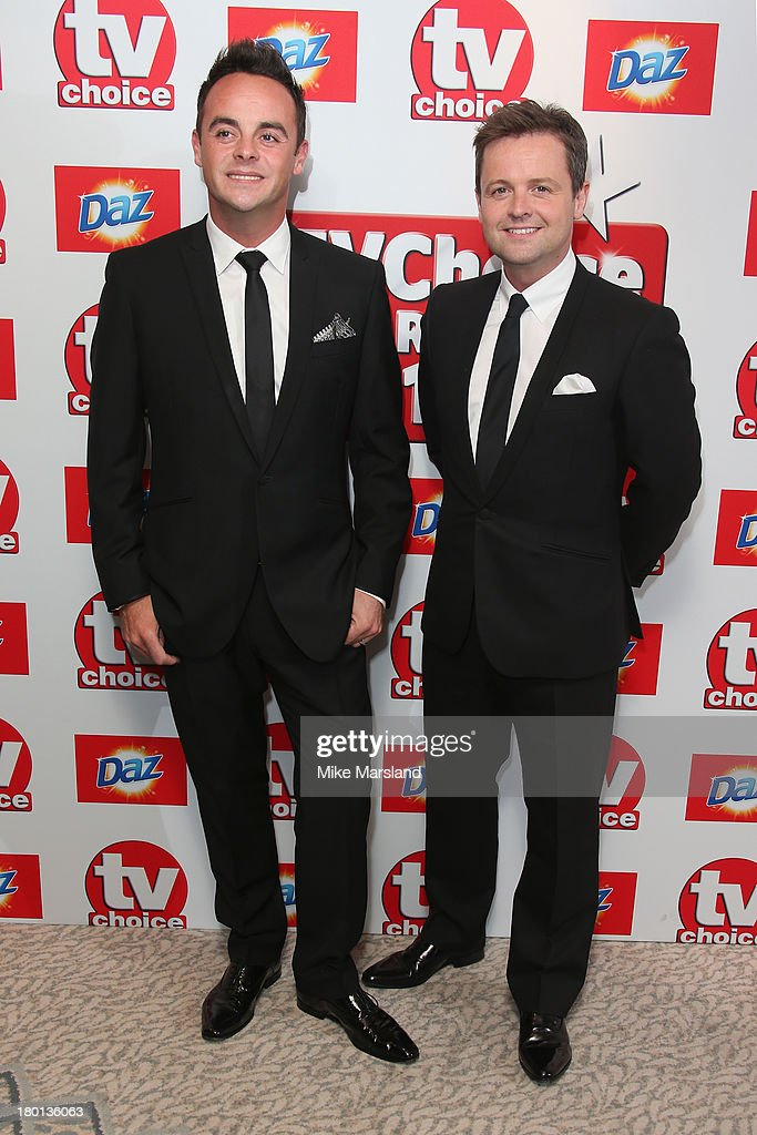 TV Presenters Anthony McPartlin (L) and <a gi-track='captionPersonalityLinkClicked' href=/galleries/search?phrase=Declan+Donnelly&family=editorial&specificpeople=206200 ng-click='$event.stopPropagation()'>Declan Donnelly</a> (R) attend the TV Choice Awards 2013 at The Dorchester on September 9, 2013 in London, England.