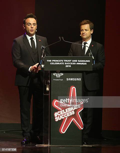 Presenters Anthony McPartlin and Declan Donnelly look on during the Prince's Trust Celebrate Success Awards at the London Palladium on March 7 2016...
