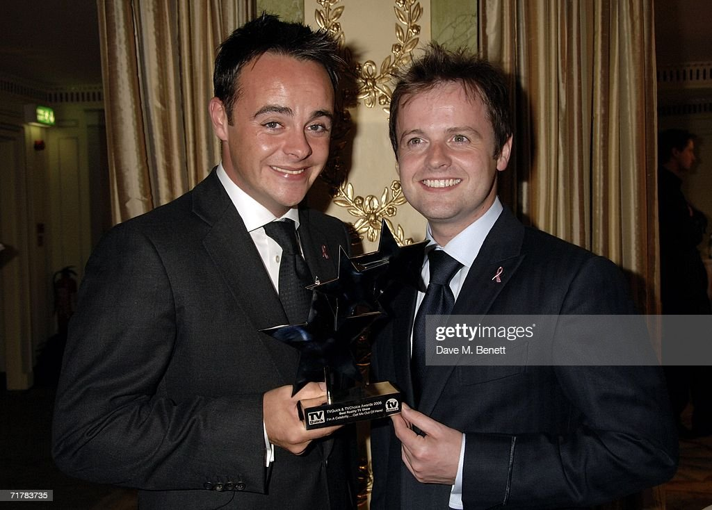 TV presenters Anthony McPartlin and Declan Donnelly pose with the award for Best Reality Show for 'I'm a celebrityGet me out of here' at the TV Quick...
