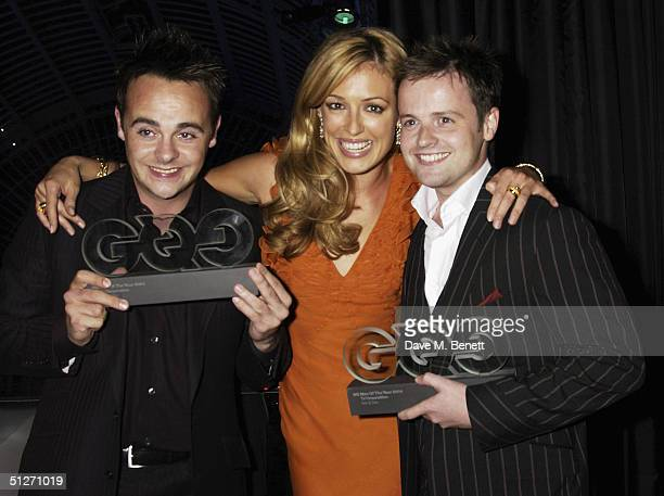 TV presenters Anthony McPartlin Cat Deeley and Declan Donnelly pose in the pressroom at the 'GQ Men Of The Year Awards' at the Royal Opera House on...