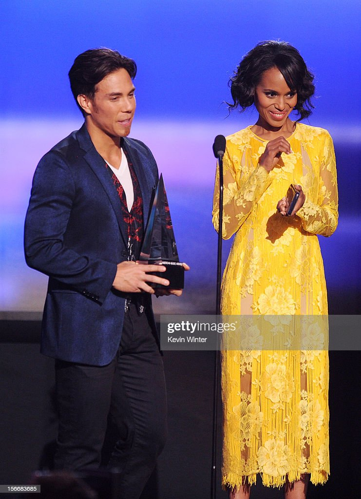 Presenters Apolo Ohno and Kerry Washington onstage during the 40th American Music Awards held at Nokia Theatre L.A. Live on November 18, 2012 in Los Angeles, California.