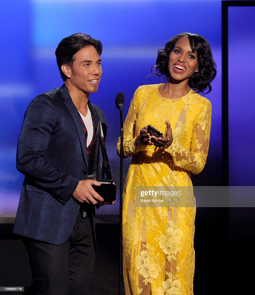 Presenters Apolo Ohno and Kerry Washington speak onstage during the 40th American Music Awards held at Nokia Theatre L.A. Live on November 18, 2012 in Los Angeles, California.