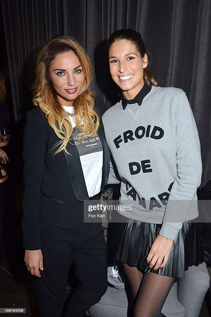 TV presenters Ariane Brodier and Laury Thilleman attend Saperlipopette' : Norbert Cremaillere Party on November 17, 2014 in Puteaux, France.