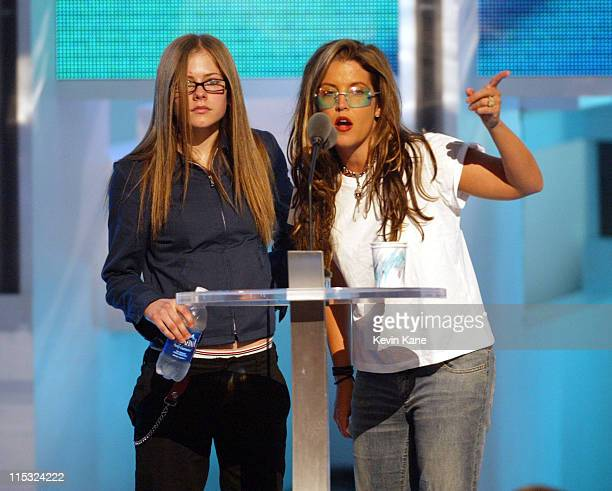 Presenters Avril Lavigne and Lisa Marie Presley during 2002 MTV Video Music Awards Dress Rehearsal at Radio City Music Hall in New York City New York...