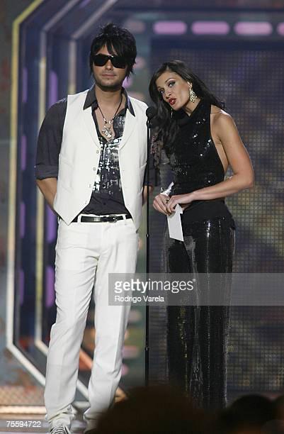 Presenters Beto Cuevas and Dayanara Torres at Premios Juventud Awards at the University of Miami BankUnited Center on July 19 2007 in Miami Florida