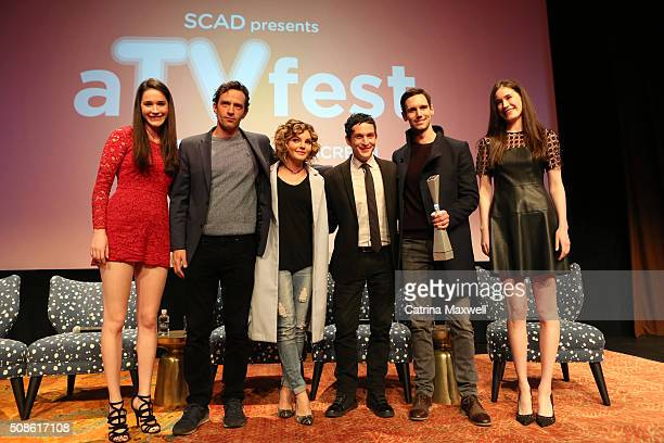 Presenters Caroline Huey and Rebecca Huey and Spotlight Cast Award Recipients for 'Gotham' actors Nathan Darrow Camren Bicondova Robin Lord Taylor...