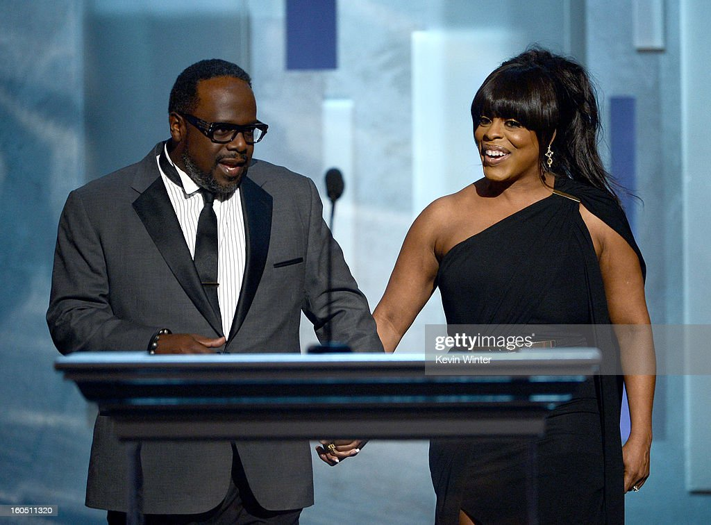 Presenters Cedric the Entertainer and Niecy Nash onstage during the 44th NAACP Image Awards at The Shrine Auditorium on February 1, 2013 in Los Angeles, California.