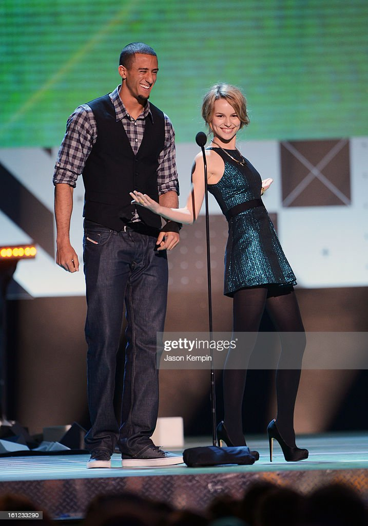 Presenters Colin Kaepernick and Bridgit Mendler attend the Third Annual Hall of Game Awards hosted by Cartoon Network at Barker Hangar on February 9, 2013 in Santa Monica, California. 23270_003_JK_0038.JPG