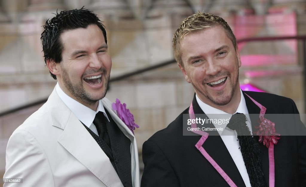 TV presenters Colin McCallister and Justin Ryan attend The Blush Ball, raising funds for the construction of a third Breast Cancer Haven in North England, at the Natural History Museum on April 25, 2006 in London, England.
