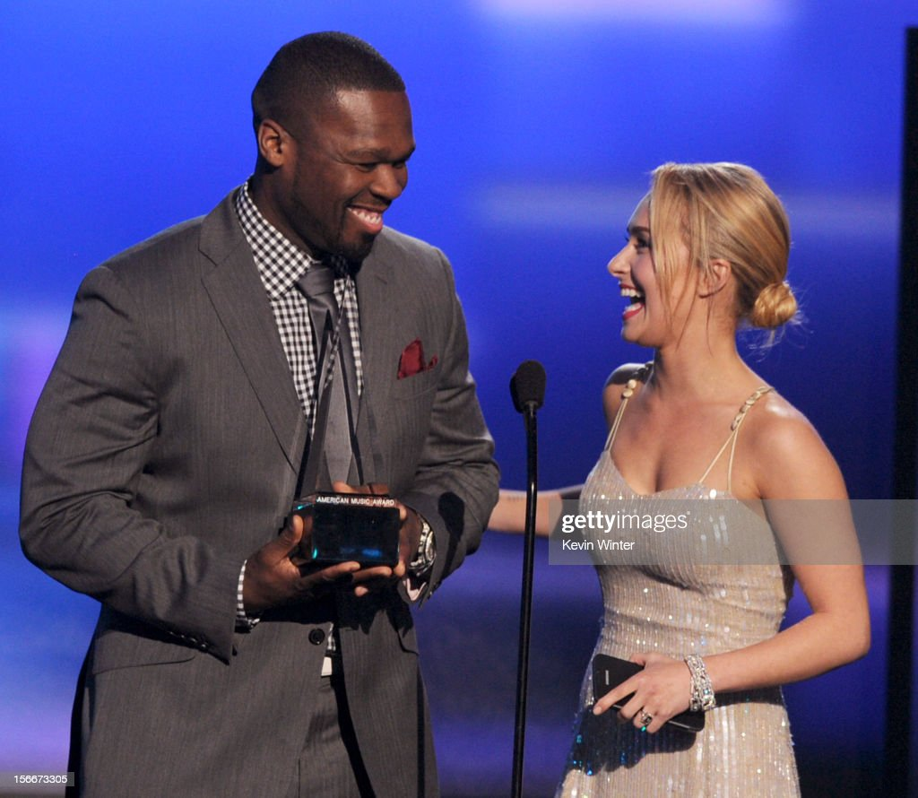 Presenters Curtis '50 cent' Jackson and Hayden Panettiere speak onstage during the 40th American Music Awards held at Nokia Theatre L.A. Live on November 18, 2012 in Los Angeles, California.