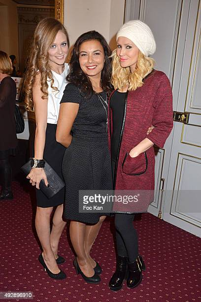 Presenters Cyrielle Joelle Anais Baydemir and Tatiana Laurens Delarue attend the 'Tess Art And Stella And Dot Party' As Part of 'Octobre Rose' At 21...