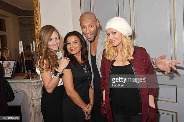 Presenters Cyrielle Joelle Anais Baydemir Xavier Delarue and Tatiana Laurens Delarue attend the 'Tess Art And Stella And Dot Party' As Part of...