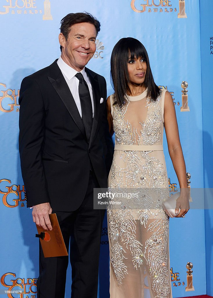 Presenters Dennis Quaid (L) and Kerry Washington pose in the press room during the 70th Annual Golden Globe Awards held at The Beverly Hilton Hotel on January 13, 2013 in Beverly Hills, California.