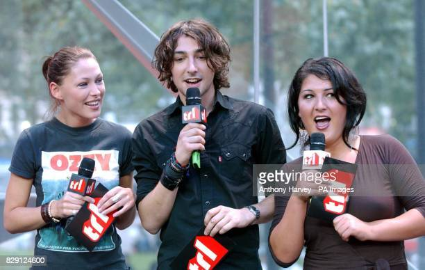 MTV presenters Emma Griffiths and Alex Zane with Nadia Almada the winner of reality TV show Big Brother 5 during her guest appearance on MTV's TRL...
