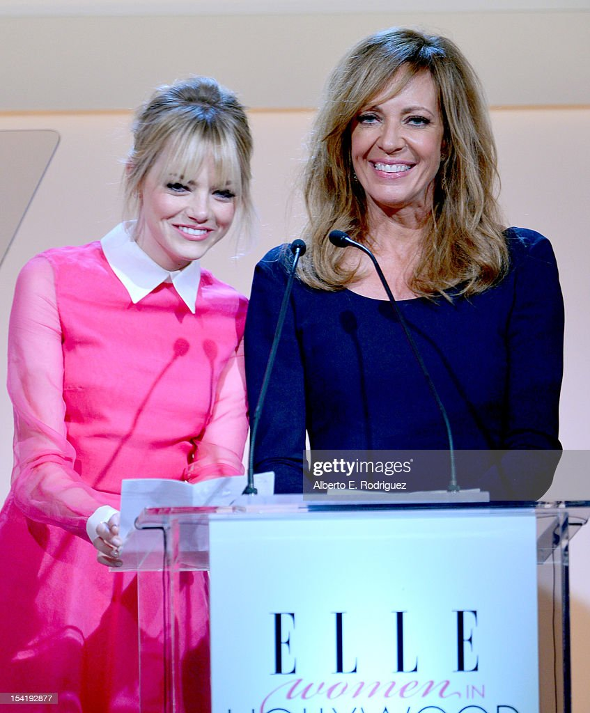 Presenters <a gi-track='captionPersonalityLinkClicked' href=/galleries/search?phrase=Emma+Stone&family=editorial&specificpeople=672023 ng-click='$event.stopPropagation()'>Emma Stone</a> and <a gi-track='captionPersonalityLinkClicked' href=/galleries/search?phrase=Allison+Janney&family=editorial&specificpeople=206290 ng-click='$event.stopPropagation()'>Allison Janney</a> speak onstage at ELLE's 19th Annual Women In Hollywood Celebration at the Four Seasons Hotel on October 15, 2012 in Beverly Hills, California.