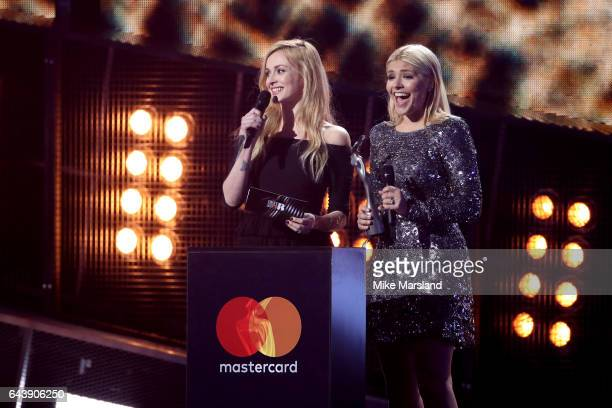 Presenters Fearne Cotton and Holly Willoughby on stage at The BRIT Awards 2017 at The O2 Arena on February 22 2017 in London England