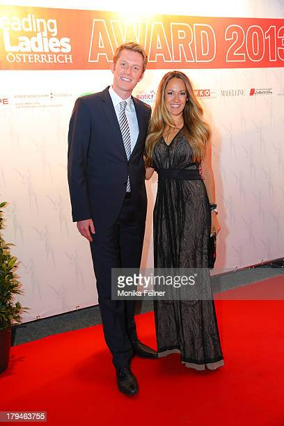 PULS4 presenters Florian Danner and Bianca Schwarzjirg attend the Leading Ladies Awards 2013 at Belvedere Palace on September 3 2013 in Vienna Austria