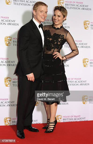 Presenters Freddie Fox and Dianna Agron poses in the winners room at the House of Fraser British Academy Television Awards at Theatre Royal Drury...