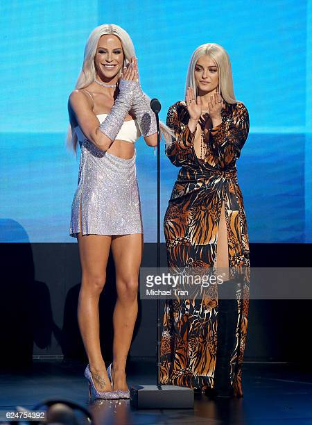 Presenters Gigi Gorgeous and Bebe Rexha speak onstage during the 2016 American Music Awards held at Microsoft Theater on November 20 2016 in Los...