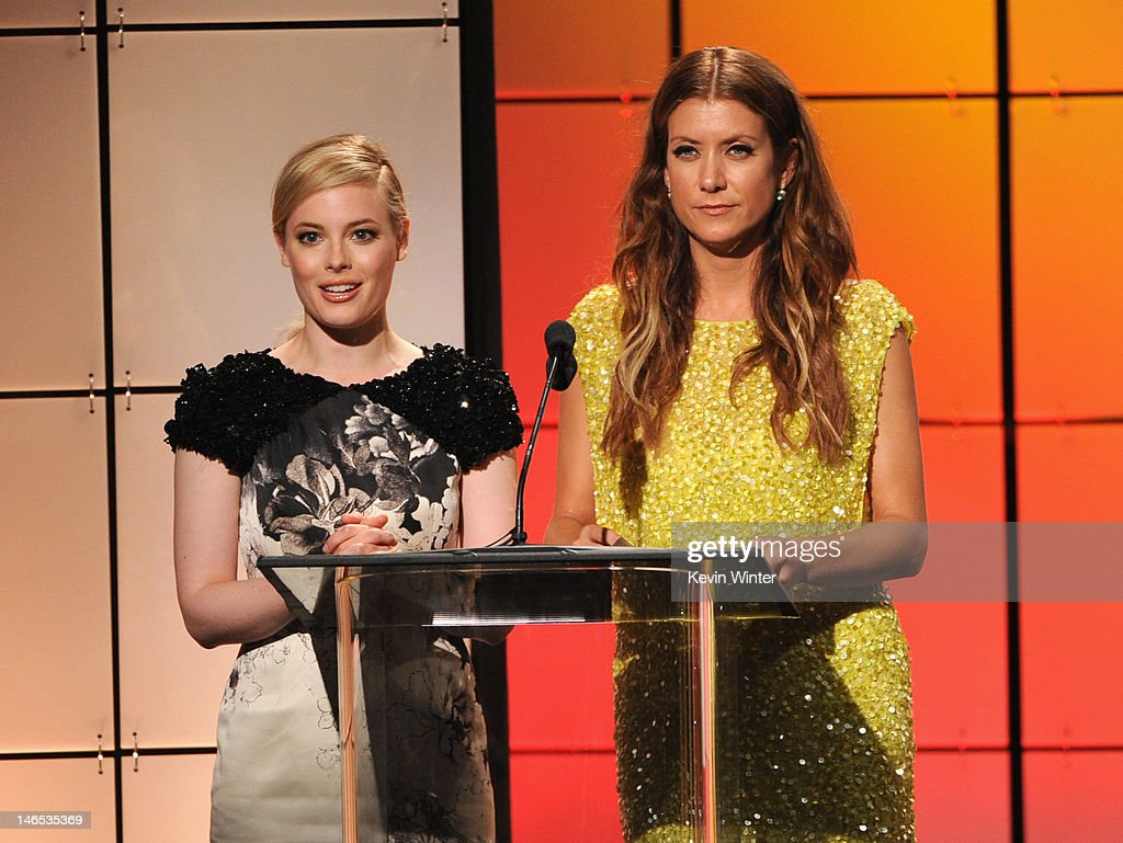 Presenters <a gi-track='captionPersonalityLinkClicked' href=/galleries/search?phrase=Gillian+Jacobs&family=editorial&specificpeople=4836757 ng-click='$event.stopPropagation()'>Gillian Jacobs</a> and Kate Walsh speak onstage during The Broadcast Television Journalists Association Second Annual Critics' Choice Awards at The Beverly Hilton Hotel on June 18, 2012 in Beverly Hills, California.
