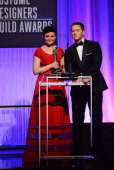Presenters Ginnifer Goodwin and Josh Dallas onstage during the 15th Annual Costume Designers Guild Awards with presenting sponsor Lacoste at The...