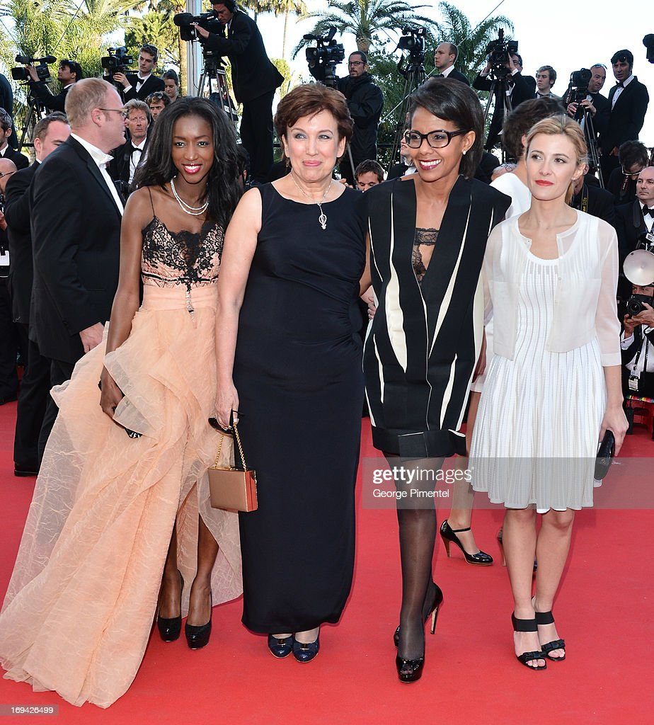 TV presenters Hapsatou Sy Roselyne Bachelot Audrey Pulvar and Elisabeth Bost attend the 'The Immigrant' premiere during The 66th Annual Cannes Film...