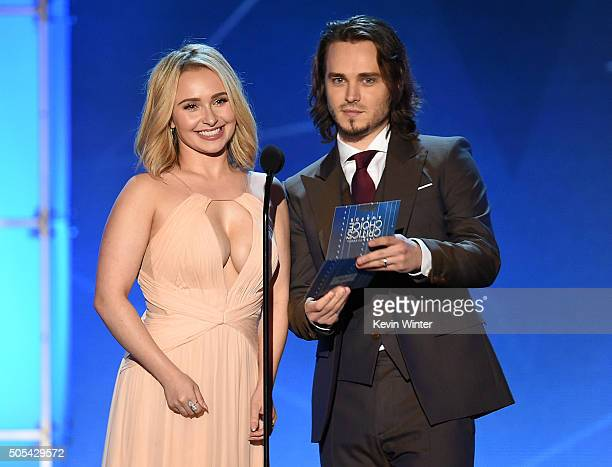 Presenters Hayden Panettiere and Jonathan Jackson speak onstage during the 21st Annual Critics' Choice Awards at Barker Hangar on January 17 2016 in...
