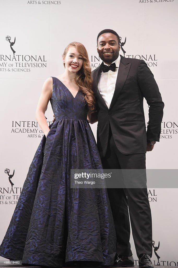 Presenters Holly Taylor and Joel Benoliel attends 43rd International Emmy Awards at New York Hilton on November 23, 2015 in New York City.