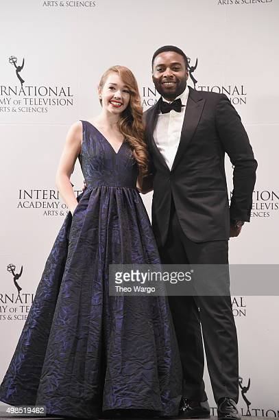 Presenters Holly Taylor and Joel Benoliel attends 43rd International Emmy Awards at New York Hilton on November 23 2015 in New York City
