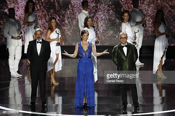 Presenters Imanol Arias Alessandra Rosaldo and Juan Carlos Arciniegas onstage at TNTLA Platino Awards 2015 at Starlight Marbella on July 18 2015 in...