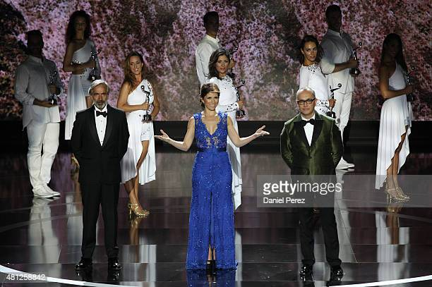 Presenters Imanol Arias Alessandra Rosaldo and Juan Carlos Arciniegas at TNTLA Platino Awards 2015 at Starlight Marbella on July 18 2015 in Marbella...