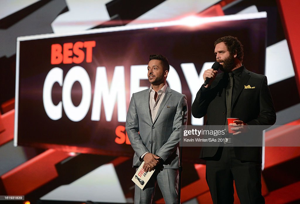 Presenters Jai Rodriguez (L) and Harley Morenstein speak onstage at the 3rd Annual Streamy Awards at Hollywood Palladium on February 17, 2013 in Hollywood, California.