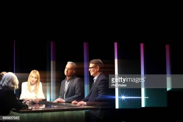 Presenters John Campbell and Nigel Latta on the TVNZ set of 'What Next' on June 14 2017 in Auckland New Zealand Nigel Latta and John Campbell are...