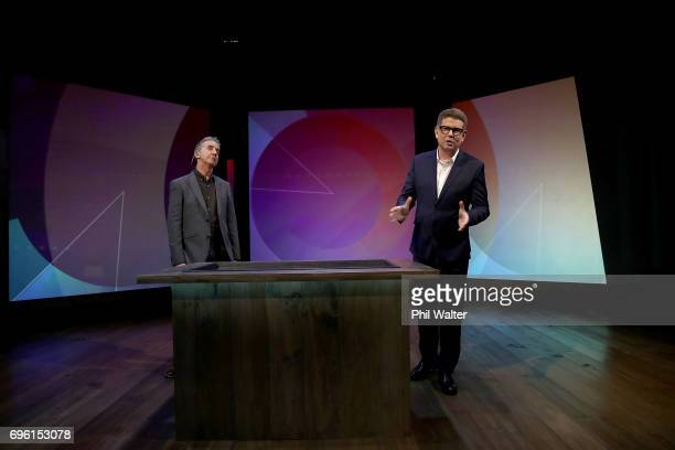 Presenters John Campbell and Nigel Latta on the TVNZ set of 'What Next' on June 15 2017 in Auckland New Zealand Nigel Latta and John Campbell are...