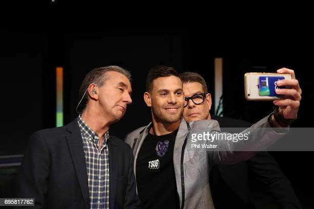 Presenters John Campbell and Nigel Latta pose with futurist Shay Wright on the TVNZ set of 'What Next' on June 14 2017 in Auckland New Zealand Nigel...