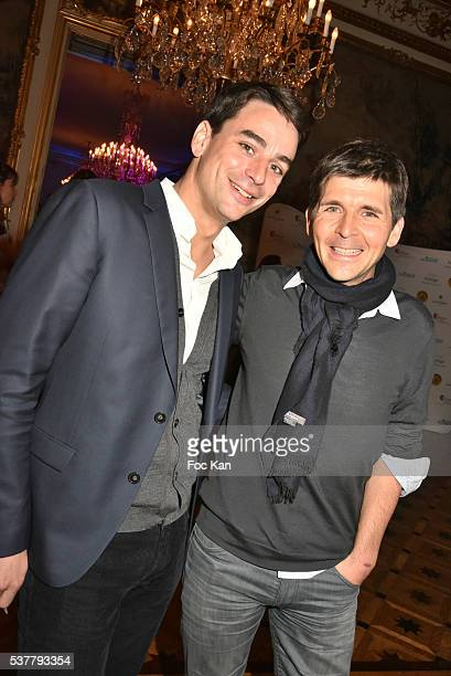 TV presenters Julian Bugier and Thomas Sotto attend 'Autistes Sans Frontieres' Gala Dinner Arrivals at Hotel Marcel Dassault on June 2 2016 in Paris...