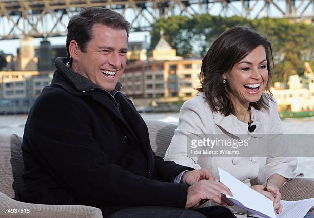 Presenters Karl Stefanovic and Lisa Wilkinson live onair as part of the Today Show 25th birthday celebrations outside the Sydney Opera House on June...